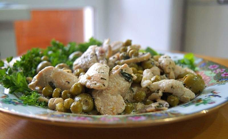 Курица по-французски с грибами