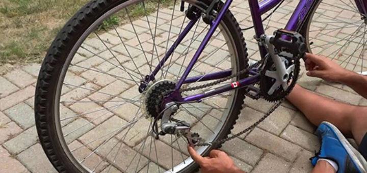 установка цепи на велосипеде